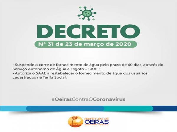 SAAE suspende corte de água por 60 dias em Oeiras